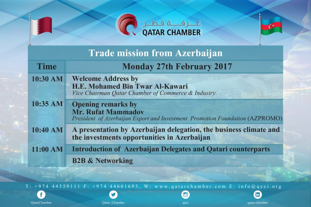 Trade mission from Azerbaijan   Qatar Chamber   Qatar Chamber